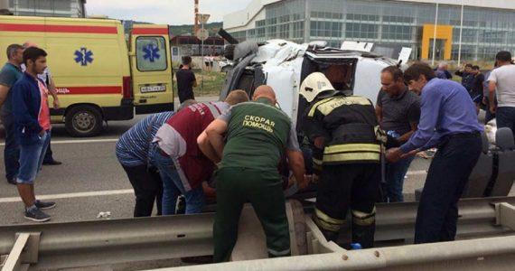 Тройное ДТП около аэропорта Минвод. 12 человек ранены