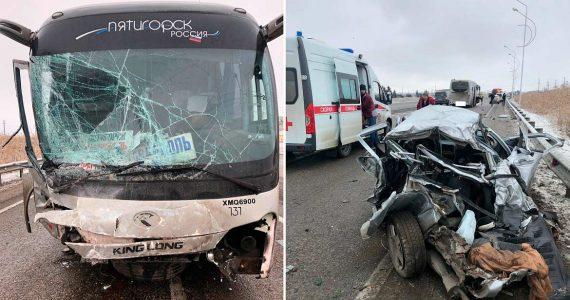 «Десятка» протаранила пассажирский автобус под Минводами